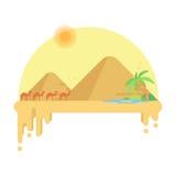 骆驼有蓬卡车去绿洲反对吉萨棉金字塔背景  图库摄影