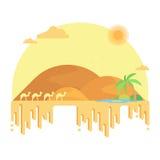 骆驼有蓬卡车去在沙丘中的一片绿洲 库存照片