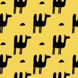 骆驼的传染媒介无缝的样式 库存图片
