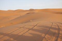 骆驼的阴影在沙漠沙子的 库存照片