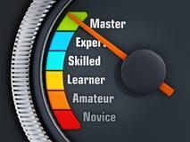 经验成水平speedmeter 库存图片