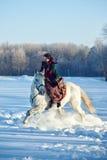 骑一匹马的女孩在冬天 库存图片