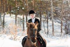 骑一匹马的年轻美丽的女孩骑师在冬天森林里 库存照片
