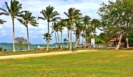 骑一辆纵排自行车的年轻夫妇在海滩停放 免版税库存照片