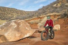 骑一辆肥胖自行车在山沙漠足迹 图库摄影