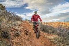 骑一辆肥胖自行车在科罗拉多山麓小丘 免版税库存图片