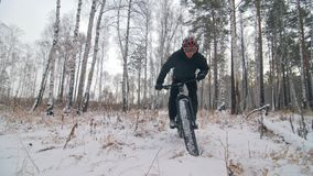 骑一辆肥胖自行车的专业极端运动员骑自行车的人在户外 在冬天雪森林人的骑自行车者乘驾 股票录像