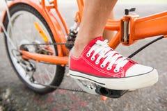 骑一辆自行车的妇女在公园 免版税库存图片