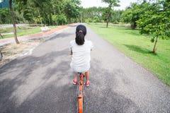 骑一辆自行车的妇女在公园 免版税库存照片
