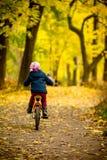骑一辆自行车的小女孩在公园在用秋天橡木和槭树盖的路 后面观点的小孩 免版税库存图片