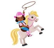 骑与套索的女牛仔一匹马 库存照片