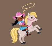 骑与套索的女牛仔一匹马 免版税库存照片