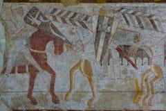 骑兵争斗的中世纪壁画 库存照片