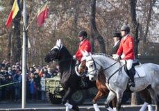 骑兵游行在罗马尼亚国庆节 图库摄影