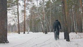 骑在室外的专业极端运动员骑自行车的人肥胖自行车 在冬天雪森林人的骑自行车者乘驾试验 影视素材
