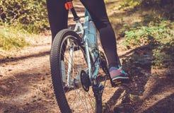 骑在森林自行车齿轮的妇女一辆自行车 免版税库存照片