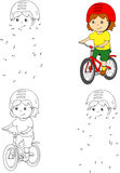 骑在盔甲的年轻男孩一辆自行车 也corel凹道例证向量 免版税库存照片