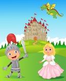 骑士、公主和龙 免版税库存图片