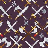 骑士剑传染媒介中世纪武器有被隔绝的锋利的刀片和海盗刀子例证大刀集合的  皇族释放例证