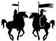 骑士剪影 库存照片