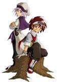 骑士和巫术师 图库摄影