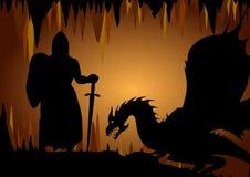 骑士和龙 免版税库存照片