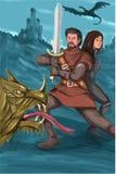 骑士和Fighting Dragon Watercolor公主 库存例证