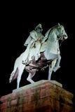 骑士在科隆德国雕刻在旁边莱茵河河  免版税图库摄影