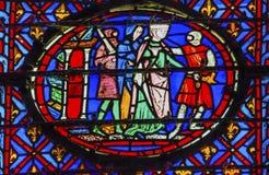 骑士女王彩色玻璃Sainte Chapelle巴黎法国 库存照片