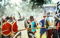 骑士持续作战的历史恢复 库存照片