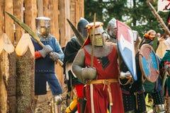 骑士持续作战的历史恢复 免版税库存图片