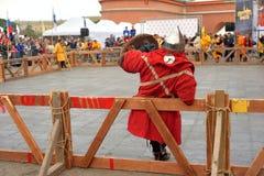 骑士比赛的重建 库存图片