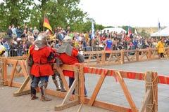 骑士比赛的重建 库存照片