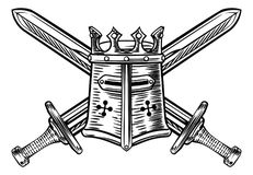 骑士盔甲和横渡的剑例证 库存例证