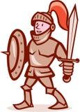 骑士盾剑动画片 图库摄影