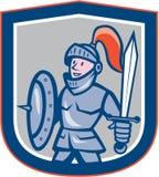 骑士盾剑盾动画片 免版税库存照片