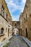 骑士街道,罗得岛,希腊 免版税库存照片
