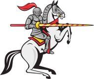 骑士长矛马腾跃的动画片 皇族释放例证