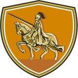 骑士骑马马减速火箭长矛的盾 向量例证