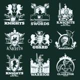 骑士黑白照片象征 皇族释放例证