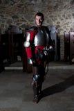 骑士画象站立在老修道院里的装甲的 库存照片