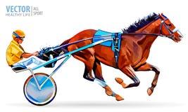 骑师和马 冠军 赛跑 竞技场 赛跑首先来到终点线的马 有马和车手的运输车 免版税库存照片