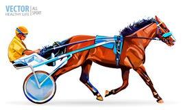 骑师和马 冠军 赛跑 竞技场 赛跑首先来到终点线的马 有马和车手的运输车 库存照片