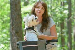 骑有她的狗的美丽的妇女一辆自行车 免版税库存照片