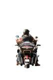骑有雨下落的骑自行车的人的画象一辆湿摩托车,被隔绝在白色背景,后面看法 库存图片