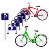 骑自行车与两辆自行车的停车处,简单的平的例证 向量 库存图片