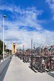 骑自行车停车处在火车站提耳堡大学,荷兰 免版税库存照片
