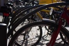 骑自行车停车 小组自行车 出租对象在城市 图库摄影