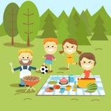 骑自行车儿童系列父亲周末 系列愉快的野餐 库存图片