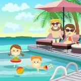 骑自行车儿童系列父亲周末 家庭在度假在水池附近的 免版税库存图片